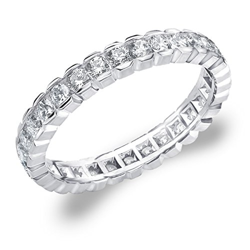 1 CT Eternity Ring in 10K White Gold, Diamond Box Set Eternity Wedding Band Anniversary Ring Band Size 6 by Eternity Wedding Bands