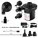 Xrime Electric Quick-Fill Air Pump Inflating/Deflating 110V AC/12V DC (Both Home car Lighter use) Portable Air Pump Swimming Pools Rings Mattress Bed Floats Rafts Inflatable Water Toys