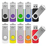 10 X 2GB USB2.0 Flash Drive in Bulk Thumb Drives Jump Drive Memory Drive Zip Drive with LED Light(10Pack,Multicoloured)