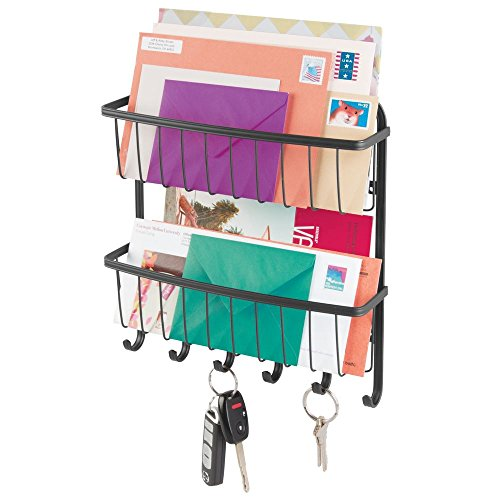 mDesign Wall Mount Metal Farmhouse Mail Organizer Storage Basket - 2 Tiers, 6 Hooks - for Entryway, Mudroom, Hallway, Kitchen, Office - Holds Letters, Magazines, Coats, Leashes, Keys - Matte Black