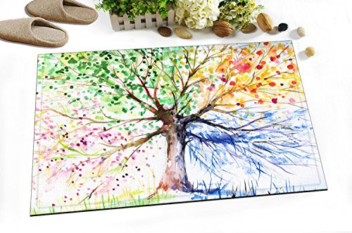 Colorful Animal Kids Stylish Bath Rugs 3D Digital Printing 16x24 Inch Customized Personality Simple Watercolor Tree Outdoor Indoor Front Door Mat Non-slip Bath (Cute Face Painting Ideas For Halloween)