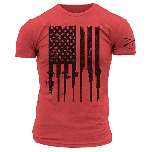 Alpha T-shirt Ribbed - Grunt Style Rifle Flag Men's T-Shirt, Color Red, Size L