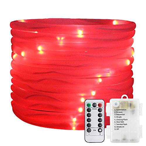 Remote&Timer Battery Powered Rope Lights,ER CHEN(TM) 16.5FT 50 LED Warterproof Indoor&Outdoor Portable Rope String Lights for Christmas Tree, Wedding, Thanksgiving, Party, Garden, Patio(Red)