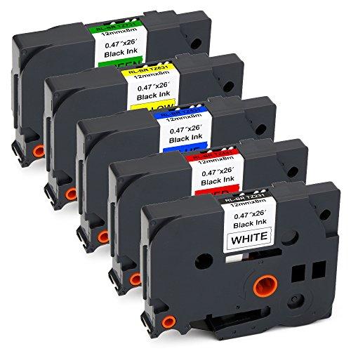 JARBO 5 Packs Compatible Brother TZE-231 TZE-431 TZE-531 TZE-631 TZE-731 Label Tape, 0.47 Inch x 26.2 Feet ( 12mm x 8m ), Use for Brother P-Touch PT-D210 PT-D200 PT-D400AD PT-H100 PT-P700 Label Maker