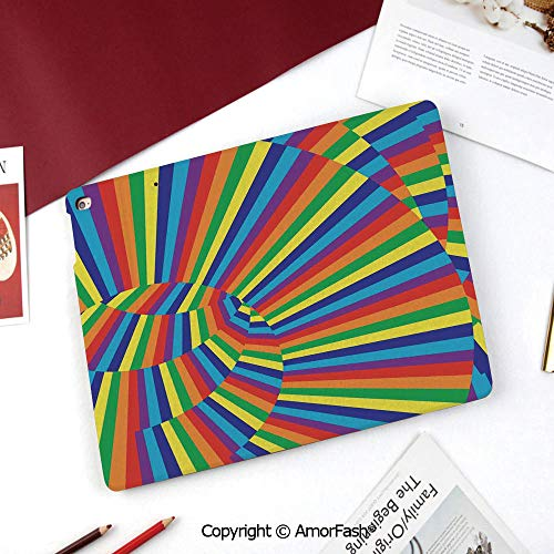 Optic Screen Protector 12 Layer - Spires Nice Cute Flip Stand Case PU Leather Folio Cover for Samsung Galaxy Tab A 8 Inch 2015 Version,Rainbow Colored Geometrical Whirling Figures with Contrast Perspective Optic Design