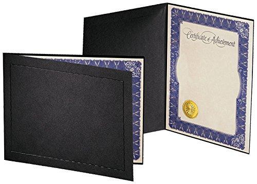Atlas Certificate Folder (11'' x 8.5'', Black/Black) Qty. 25