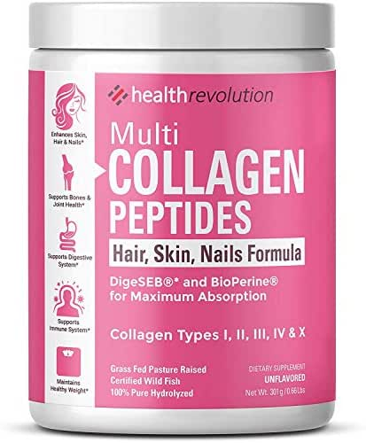 Health Revolution Multi Collagen Powder for Women – 5 Hydrolyzed Collagen Peptides Types I, II, III, V, and X – Supports Joints, Skin, Hair and Nails – Non-GMO, Gluten-Free, Unflavored