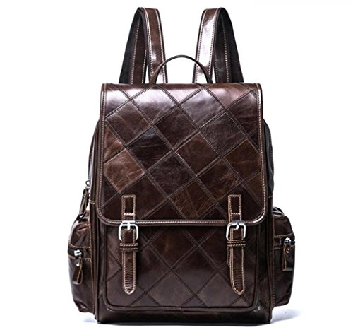 Stitching School baughe Trellis Leather Student Bag Bag travel Lady's lady's Double Backpack Bao Shoulder xfzwEg75W