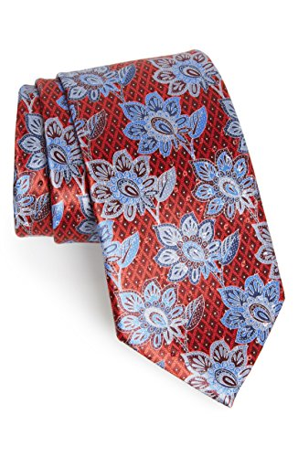 Ermenegildo Zegna Red Floral Italian Silk Tie