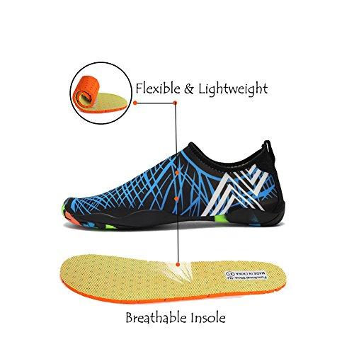 Lxso Männer Frauen Wasser Schuhe Multifunktionale Quick-Dry Aqua Schuhe Leichte Schwimmschuhe Mit Entwässerung Löcher Blau
