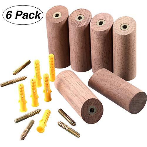 Amazon.com: Perchero de pared de madera natural, 6 piezas ...