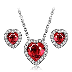 LADY COLOUR Jewelry Gifts, True Love Ruby Heart Necklace Earrings Jewelry Set for Women, Crystals Hypoallergenic Jewelry…
