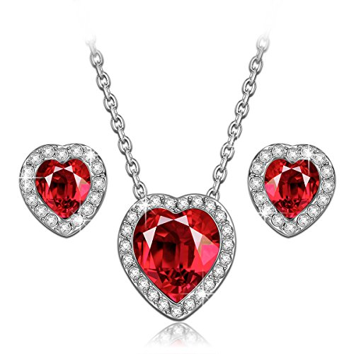 LadyColour True Love Ruby Heart Necklace and Earrings Jewelry