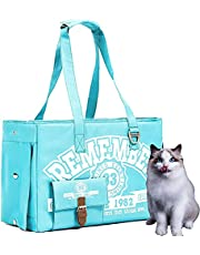 Edenpetz Top Load Cat Carrier with for Small Cats and Dogs with 3 Doors and Fashionable Design, Breathable Mesh Airline Approved Pets Travel Tote Bag with Pocket (Lake green)