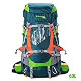 Cheap 60L Adjustable Trekking Backpack Water Resistant Tavel Nylon Bag for Man Women Outdoor Sports with Rain Cover by Makino 5555, Oliver Green +