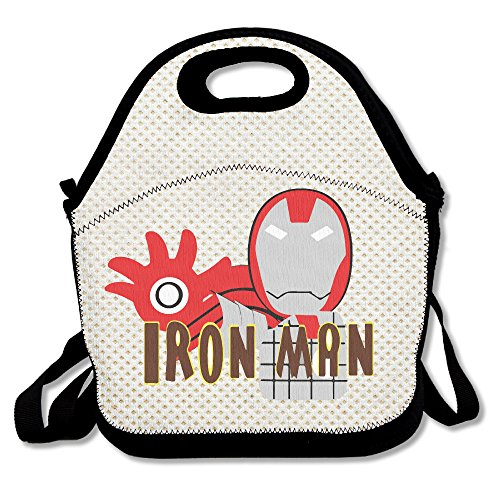 [Copdsa Superhero Iron Man Insulated Personalized Tote Lunch Food Bag Black] (Iron Man Armor Suits)