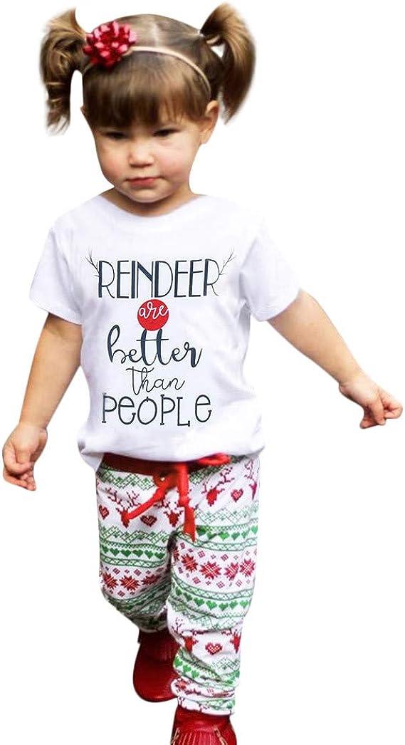 K-youth Conjuntos Bebe Niña Navidad Estampado Letras Ropa Bebé Niño Camisetas Blusas Tops y Impresión de Ciervos Pantalones Conjunto de Ropa: Amazon.es: Ropa y accesorios