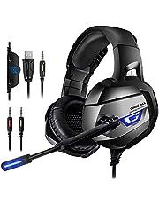 ONIKUMA Gaming Headset 7.1 LED Bass Surround Noise Cancelling mit Mikrofon 3,5mm Stumm-und Lautstärkeregler Gaming Kopfhörer für PS4 PC XboxOne usw.