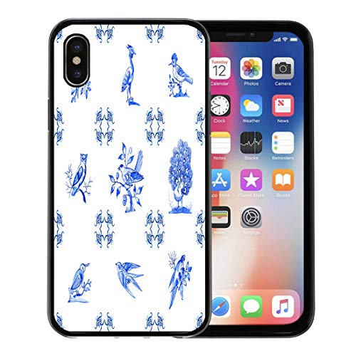 Emvency Phone Case for Apple iPhone Xs case,Watercolor Pattern Delft Blue Watercolour Traditional Dutch Tiles Images of Birds Cobalt on Porcelain for iPhone X Case,Rubber Border Protective Case,Black