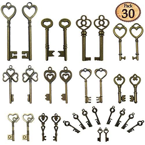 Njoy 30PCS Vintage Skeleton Keys, Mixed Steampunk Keys, Antique Bronze (HeartB)