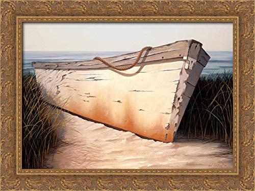 (White Boat 24x19 Gold Ornate Wood Framed Canvas Art by Soderlund, Karl)