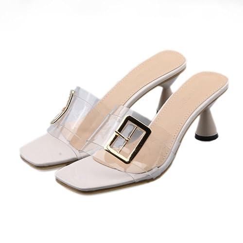 35252db3ae630 Zapatillas Color Crema Pantuflas Transparentes de Verano para Mujer Tacones  Altos y Remolque en Frío  Amazon.es  Zapatos y complementos
