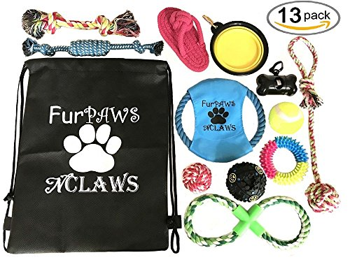 DOG PUPPY TOYS 13 PIECE ROPE TOYS, IQ TREAT BALL SQUEAK TOY, FRISBEE, TEETHING CHEW TOY, WASTEBAG KEYCHAIN HOLDER, BACKPACK INCLUDED: Dog Playtime Toys for small, medium, and large dogs