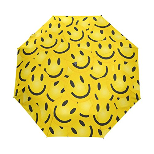Naanle Smile Face Yellow Smiley Emoji Auto Open Close Foldable Windproof Umbrella -
