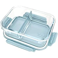 AIWANTO Glass Lunch Box with 2-Compartment Meal Prep Containers Food Storage Box with Lid Leak-proof Lunch Container Microwavable 1000ML Capacity