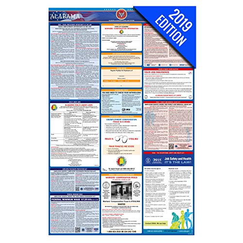 (2019 Alabama Labor Law Poster – State, Federal, OSHA Compliant – Laminated Mandatory All in One Poster)