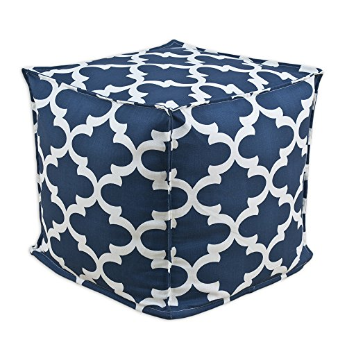 Brite Ideas Living Fynn Cadet Macon Square Seamed Pellet Hassock, 17-Inch, Navy/Cream