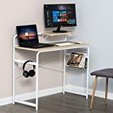 Computer Desk Writing Study Desk with 1 Tier Free Moving Shelf Wood Laptop PC Sturdy Table for Home Office,White