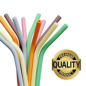 Reusable Smoothie Straws (x5), BPA-Free Silicone with brush, Long & Wide, Soft & Flexible for Drinking Smoothies, Shakes, Juice, Soda, Tea, Coffee | from Seraphina's Kitchen | Protect Your Teeth Now!