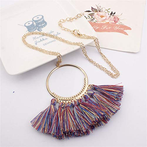 lehao Vintage Bohemian Tassel Pendant Necklace Thread Fringe Long Necklaces Pendants Charm Jewelry For Women,Sapphire color by lehao397 (Image #2)