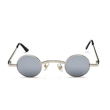 Huicai Gafas de sol redondas pequeñas Marco de metal Lente de policarbonato Gafas unisex