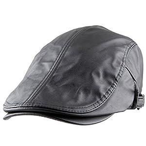 Samtree Men's Classic Newsboy Cap,PU Leather Gatsby Ivy Flat Golf Driving Hat