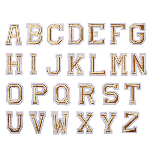 J.CARP Alphabet A to Z Patches, Iron on Sew on Letters for Clothe, 26pcs Gold