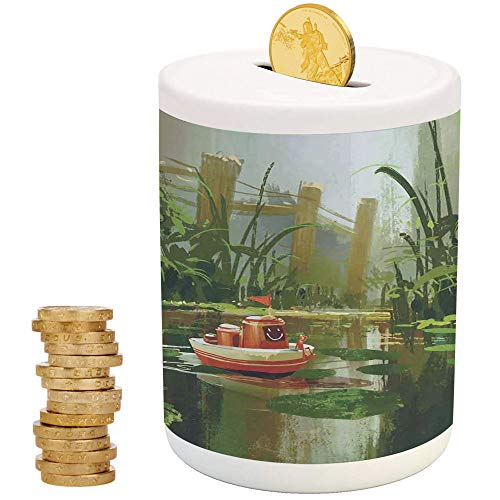 cor,Money Bank for Kids,for Party Decor Girls Kid's Children Adults Birthday Gifts,Toy Boat with Smile Face Sailing on River in Forest Cartoon Inspired ()