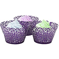 SYR Cupcake Wrappers-50pcs Cake Paper Cup Liner Little Vine Lace Cupcake Wrapper Wrappers Baking Cup Holder Case for Wedding Birthday Party Decoration (purple)