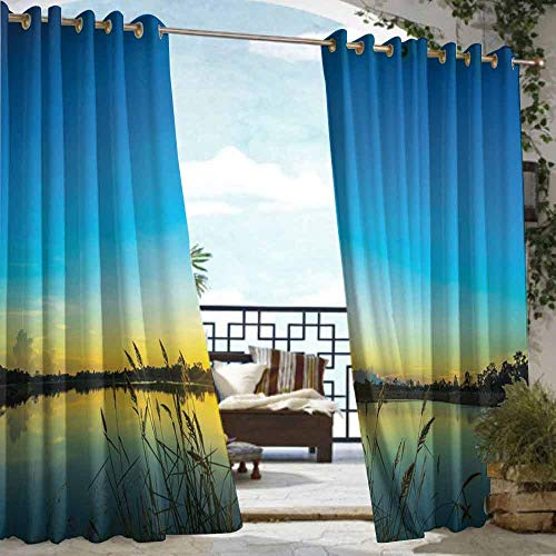 DILITECK Outdoor Curtain Panel for Patio Lake Sun Rising in Blue Sky Quiet Outdoors with Reed Bed Serenity in Country Waterproof Patio Door Panel W84 xL72 Blue Turquoise Yellow (Furniture Reeds Country)