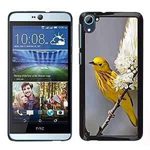 Yellow Spring Blossom Flores- Metal de aluminio y de plástico duro Caja del teléfono - Negro - HTC Desire D826