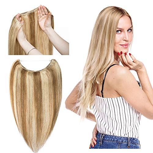 Hidden Invisible Crown Human Hair Extension One Piece Secret Miracle Wire in Hairpieces Highlight Remy Hair Translucent Fish Line Headband 60g 16''#12P613 Light Brown with Bleach Blonde
