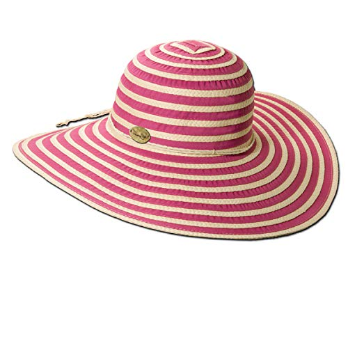 (Panama Jack Women's Ribbon Toyo and Paper Braid Floppy Sun Hat with Sizing Tie, 5