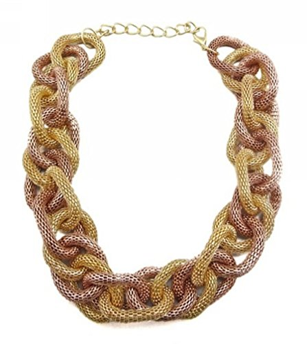 Wiipu golden Chunky Metal Mesh Braided Snake Chain Bib Statement Necklace(wp-36)