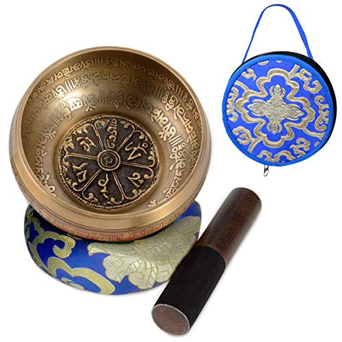 "SHANSHUI 5"" Sound Bowl, Nepal Antique Mantra Carving Hand Hammered, Tibetan Singing Bell Set Sound For Yoga Chakras Healing Meditation Zen With Leather Striker -Blue"