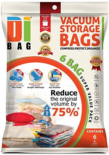 DIBAG ® 6 Vakuum komprimierte Speicherung platzsparend Beutel 80x60 cm, für Kleidung, Bettdecken, Bettwäsche, Kissen, Vorhänge und vieles mehr