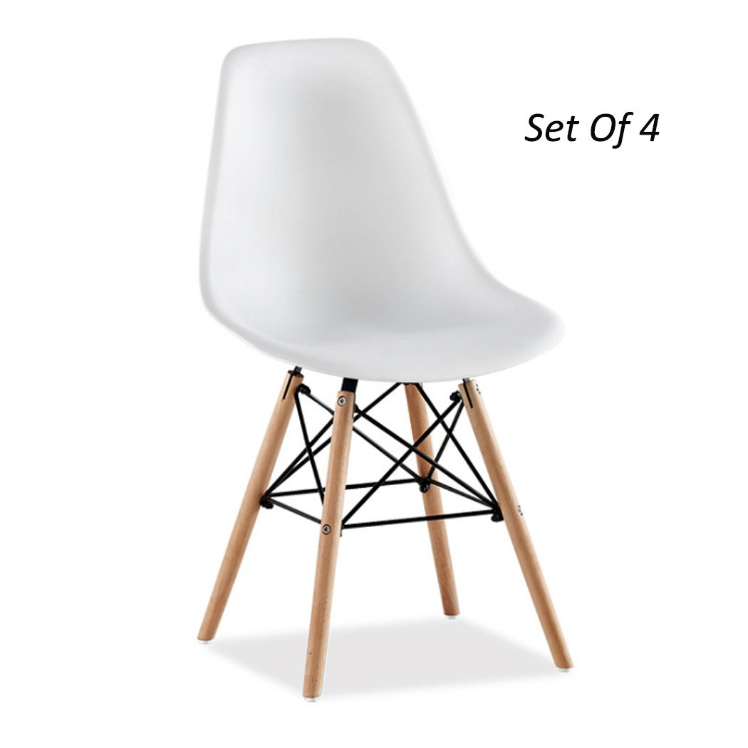 UNHO Eames Style Chairs, Set of 4 Molded Lounge Seats Kitchen Dining DSW Desk Decor Vortex Side Plastic Chairs With Wood Walnut Eiffel Dowel Legs, White