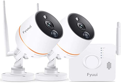 Security Cameras System Wireless, Fyuui 4CH 1080P NVR with 2pcs 1080P Wireless WiFi IP Camera Outdoor Indoor, 2-Way Audio, PIR Motion Detection, 100ft Night Vision, Remote Monitoring