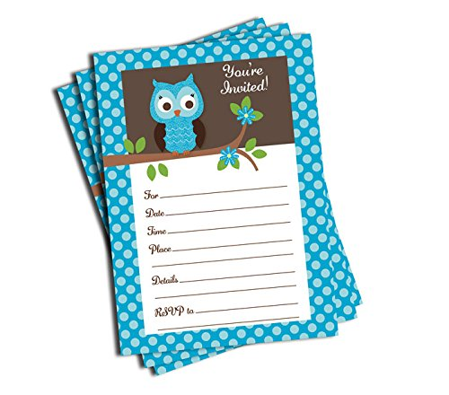 50 Blue Owl Invitations and Envelopes (Large Size 5x7) - Baby Shower - Birthday Party - Any (Blue Owl Baby Shower Decorations)