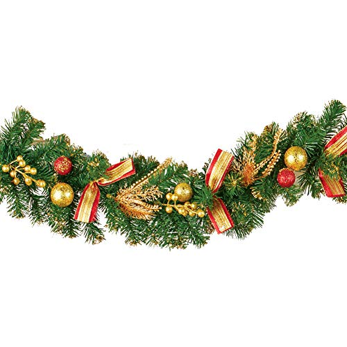 Collections Etc Evergreen Holiday Glitter Garland with Red & Gold Accents - Seasonal Home Decoration for Mantle, Doorway, or Stairway